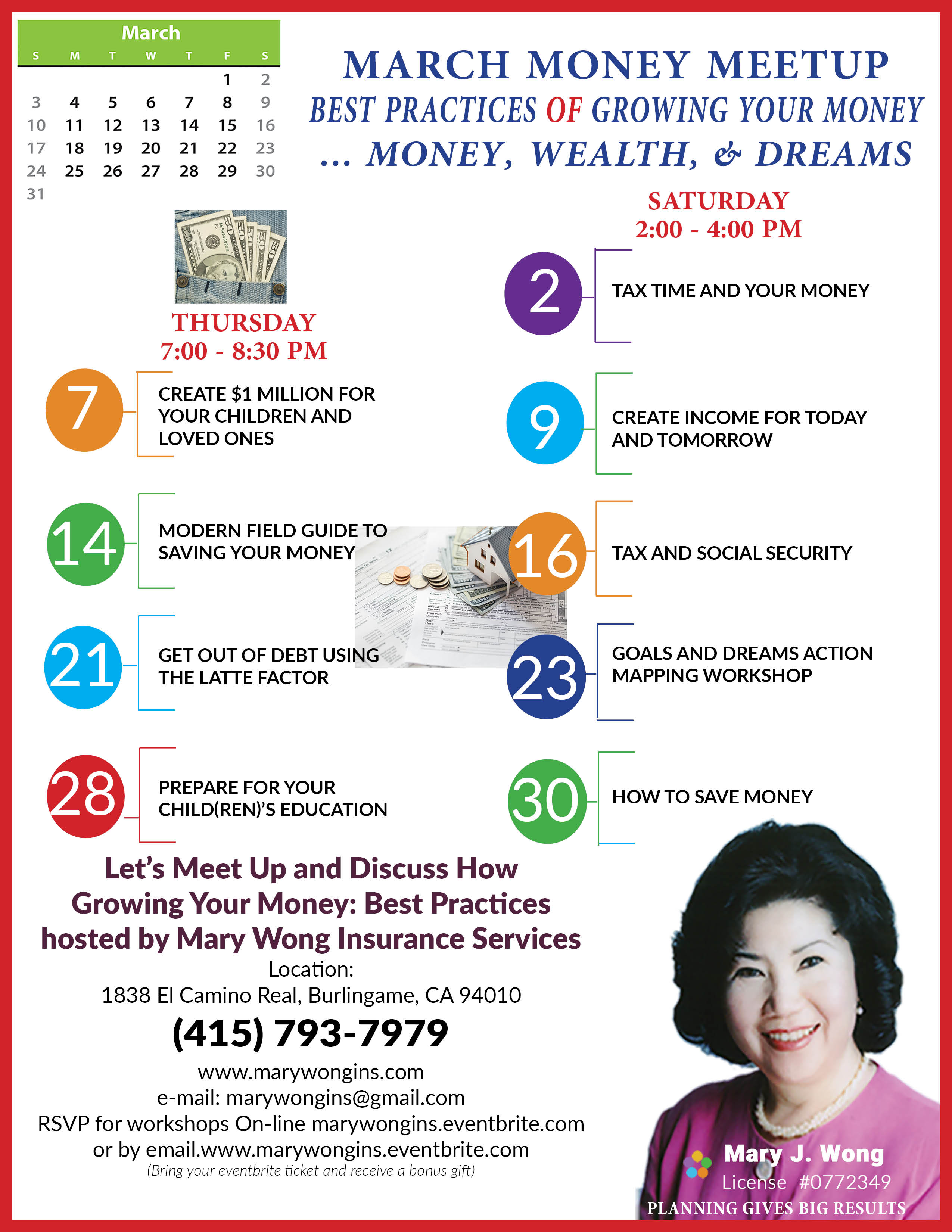 Invest in Yourself on Thursday - Find, Create, Grow and Keep Your Wealth with knowledge and education offered by Mary Wong Insurance Services
