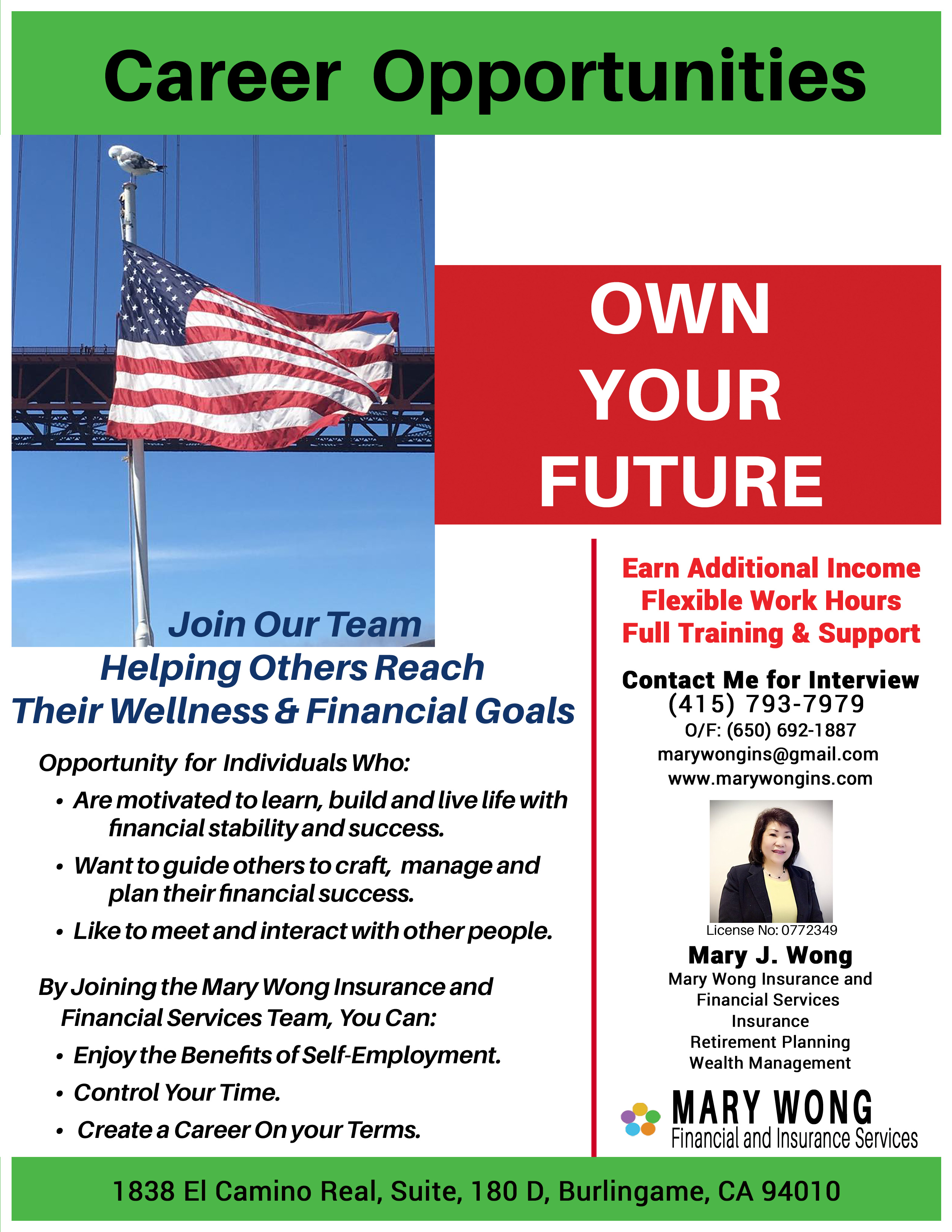 Opportunity for Motivated Individuals to Learn, Build, and Enjoy a Rich and Rewarding Life with Financial Stability and Success. Want to guide others to craft, manage and  plan their financial success